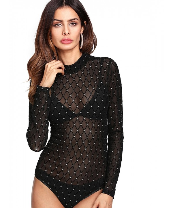Verdusa Womens Rhinestone Diamond Bodysuit