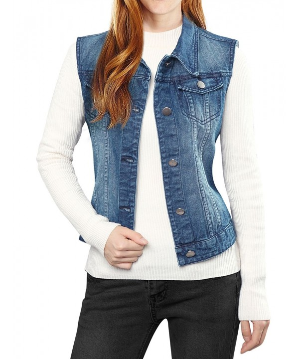 Allegra Womens Washed Denim Vest