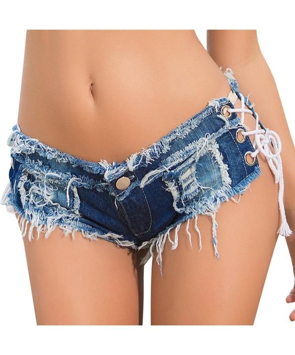 713bb20501 Womens Low Rise Mini Denim Shorts Denim Thong Cheeky Jeans Shorts - Lace  Up-blue - CK187DNK85I
