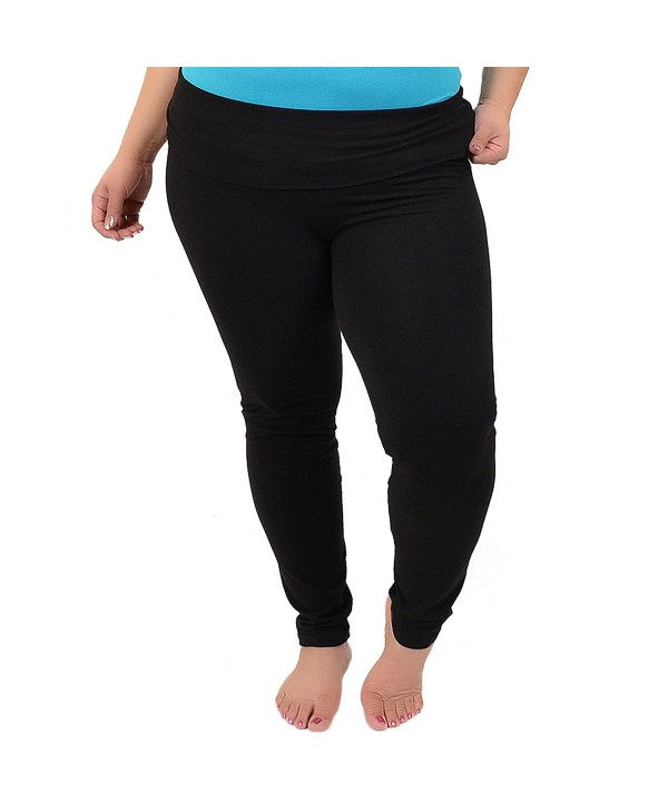 cfb72ab702c Women s Plus Size Foldover Ankle Length Cotton Leggings - Black ...