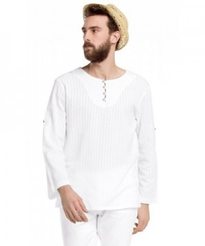White Nature Sleeves Button T Shirt