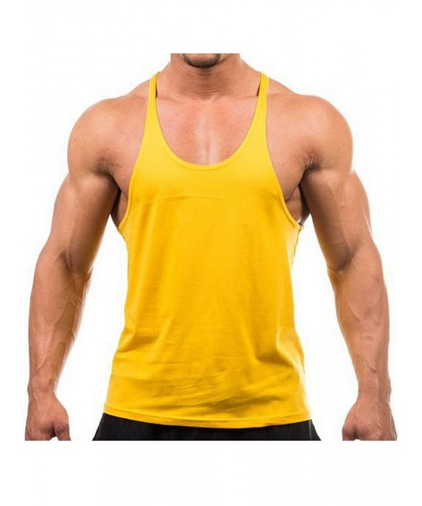 099f3445d58340 Men s Blank Stringer Y Back Bodybuilding Gym Tank Tops - Yellow ...