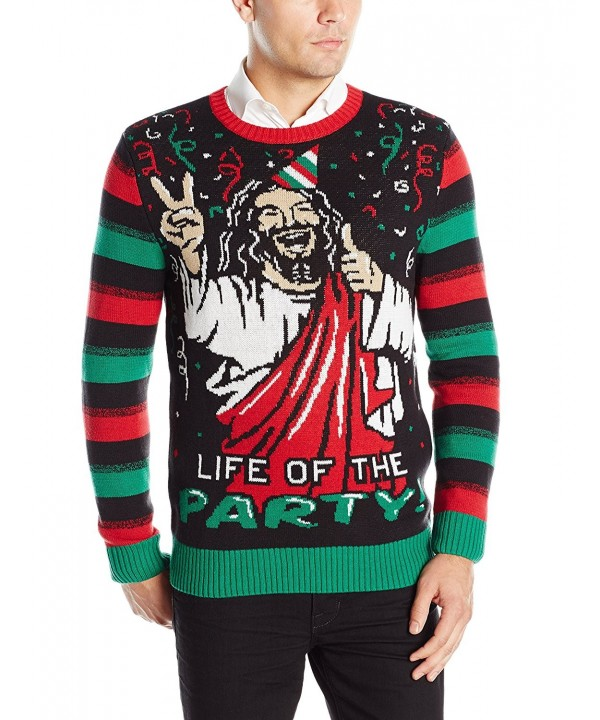 Ugly Christmas Sweater Men.Ugly Christmas Sweater Men S Life Of The Party Jesus Black C912lwybv7z