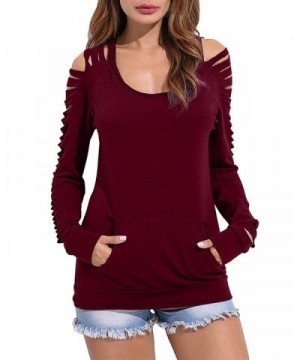ZANZEA Womens Hollow Irregular Sweatshirt
