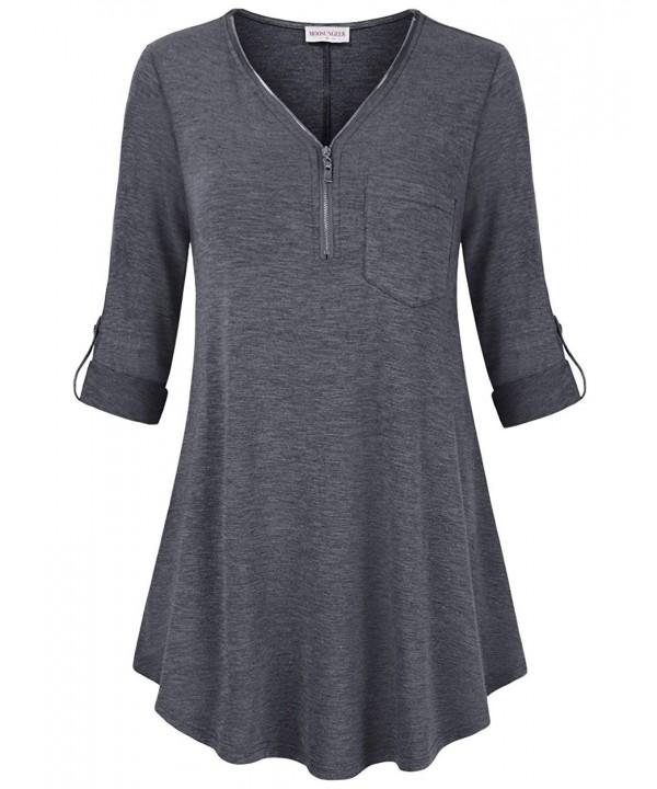 MOOSUNGEEK Blouses Fashion Sleeve Pocket