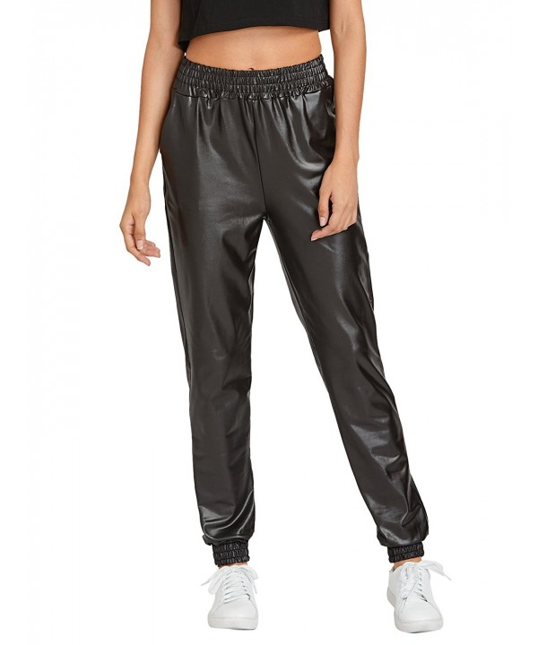 Verdusa Womens Elastic Leather Jogger