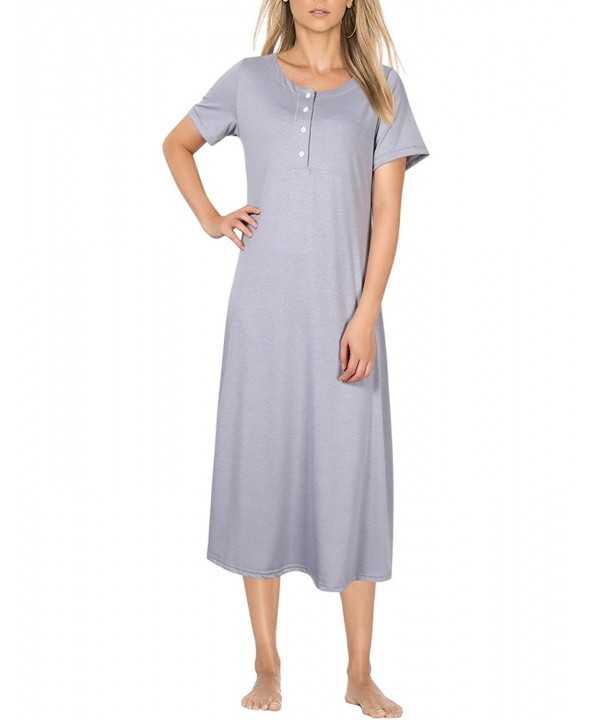 Coolmee Womens Cotton Nightgown Sleeve Grey