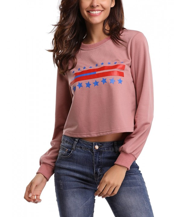 Abollria Womens Cropped Sweatshirt Pullover