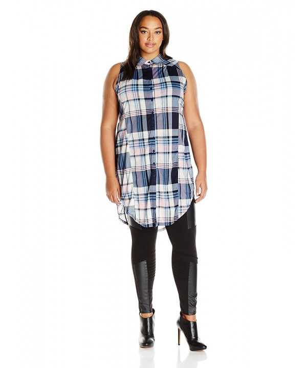 Paper Tee Womens Sleeveless Plaid