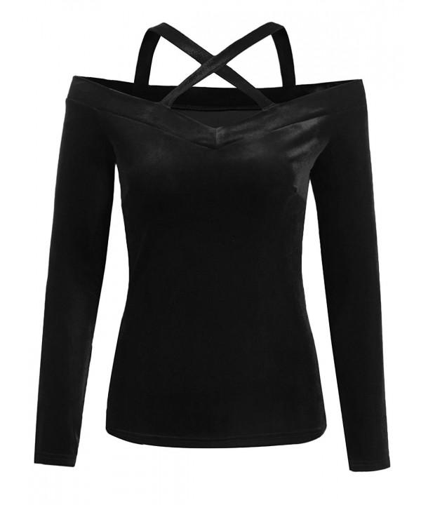 Grabsa Womens Shoulder Sleeve Velvet