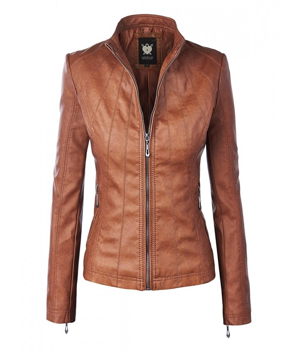 WJC877 Womens Panelled Leather Jacket