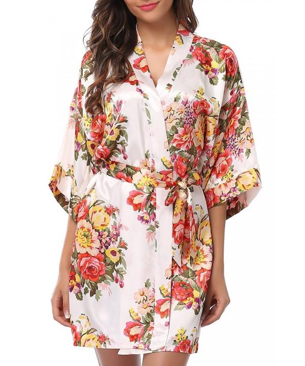 1STMALL Floral Kimono Bridesmaids White S