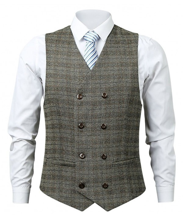 Zicac Double Breasted Business Wedding Waistcoat