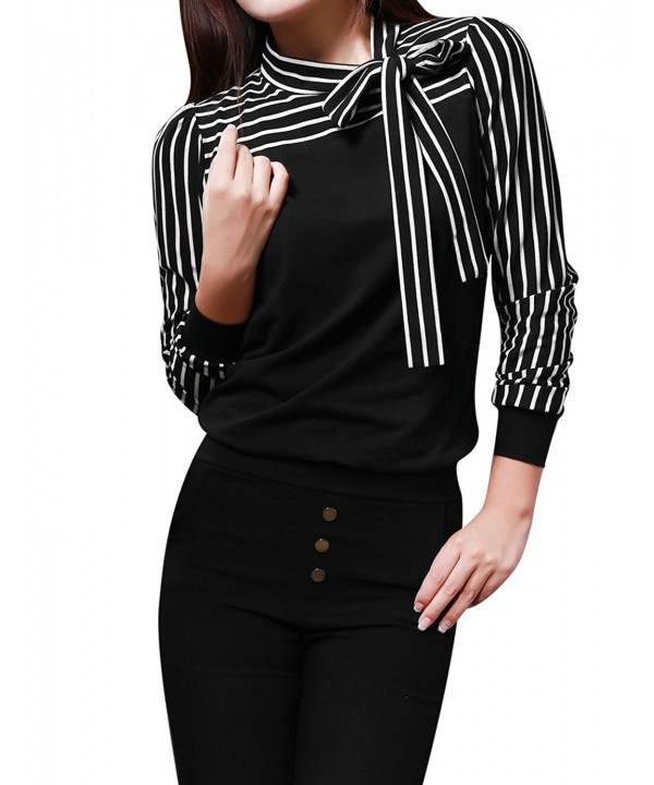 Allegra Women Sleeves Pussybow Striped