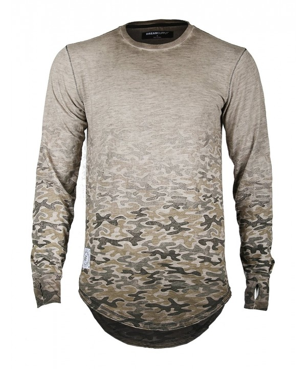 Sleeve Camouflage Longline T shirts Brown57 FBAmazon