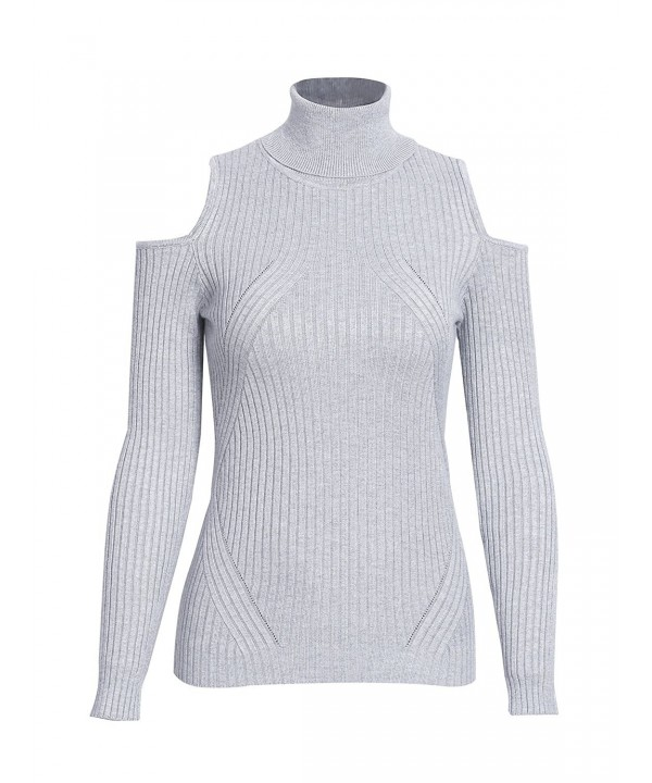 Simplee Shoulder Sweater Turtleneck Pullover