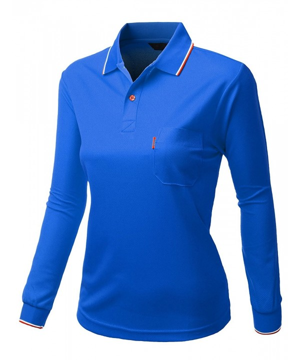 Womens Collar Sleeve Pocket Tshirt