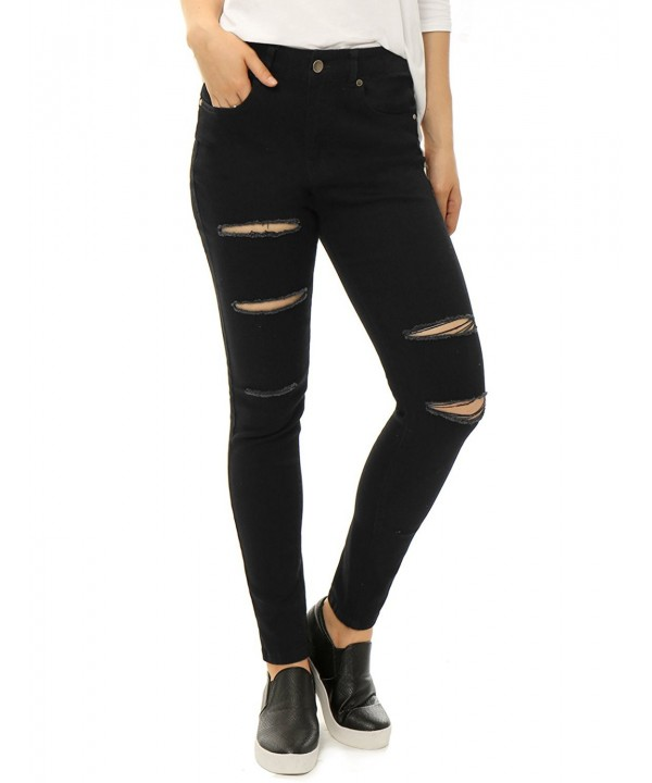 Allegra Womens Mid Rise Stretchy Ripped