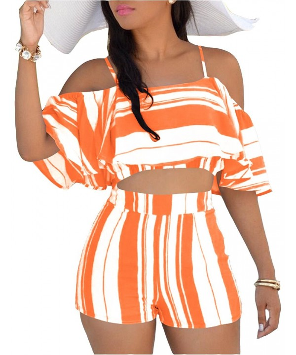 WentShopping Strapy Striped Ruffles Pantsuits