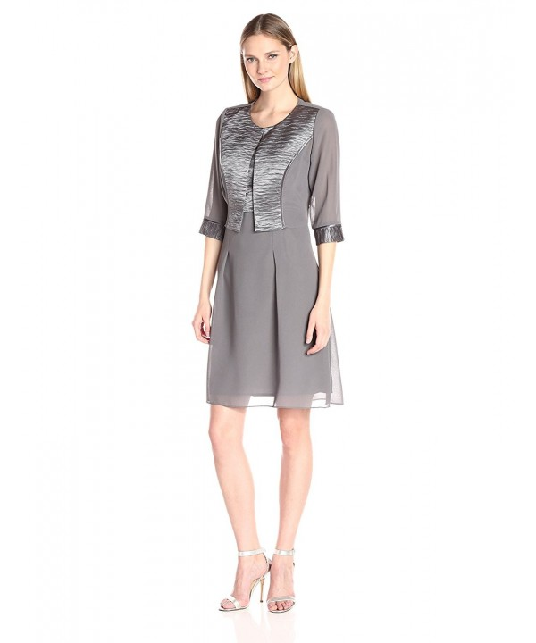 Maya Brooke Womens Pleated Gunmetal
