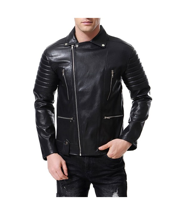 AOWOFS Leather Jacket Embossed Motorcycle