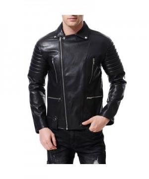 AOWOFS Leather Jacket Embossed Motorcycle