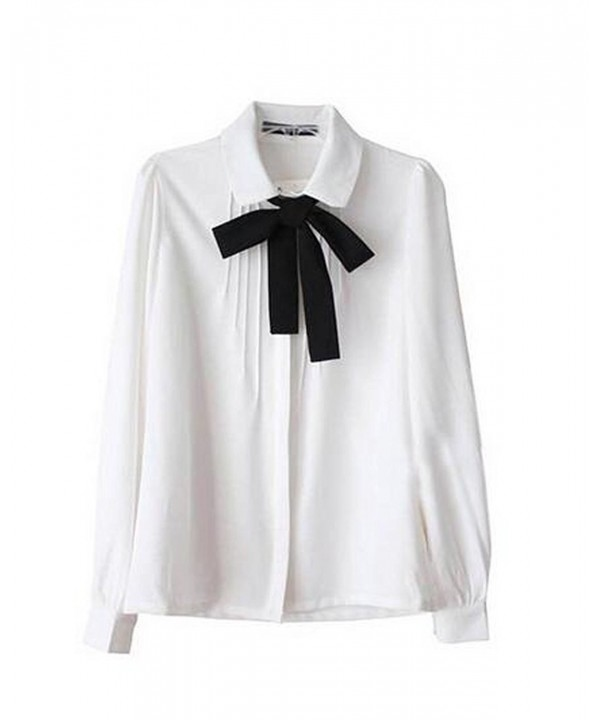 Bowknot Collar Sleeve Chiffon Button