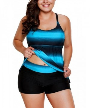 Tankini Boyshort Striped Swimwear Swimsuit