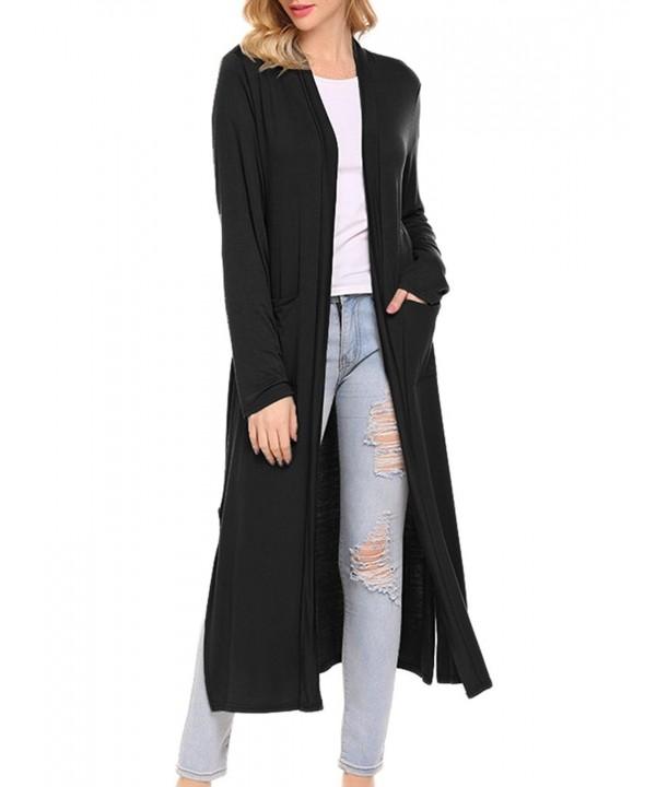 Locryz Womens Sleeve Cardigan Pockets