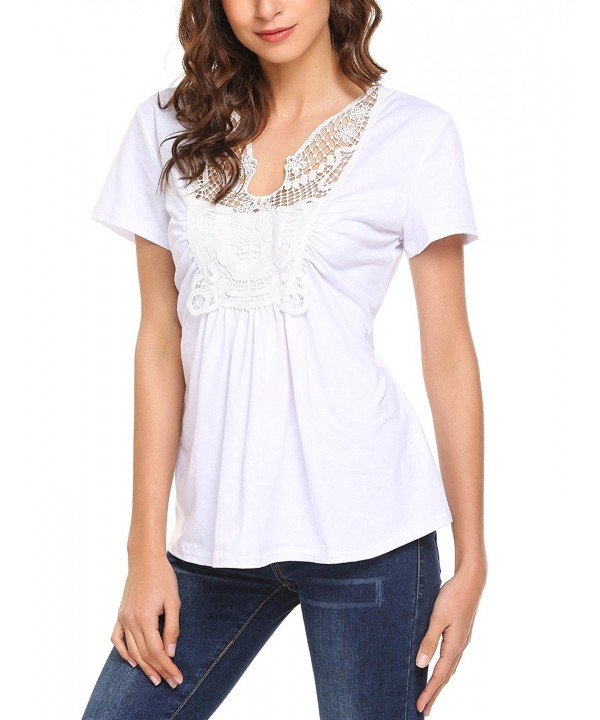 SoTeer Womens V Neck Ruched T Shirt