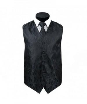 Oliver George Mens Paisley Vest Black S