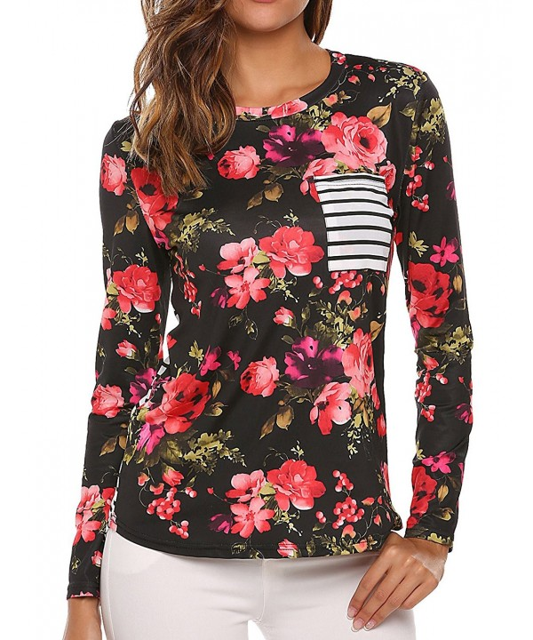 Zeagoo Womens Floral Striped Blouse