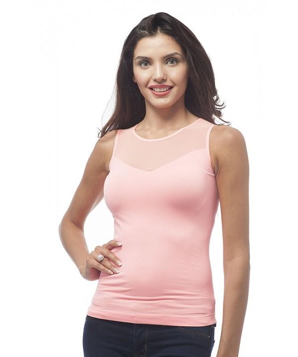 Sleeveless Stretch Shirt Ribbed NeonSalmon
