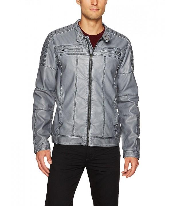 X Ray Washed Leather Jacket Large
