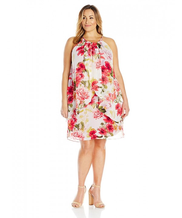 Women\'s Plus-Size Floral Printed Halter Dress - Red/Multi - CB12EQQUUUZ