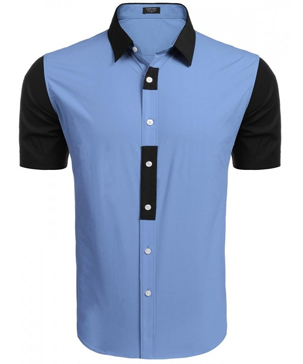 COOFANDY Sleeve Button Contrast Shirts