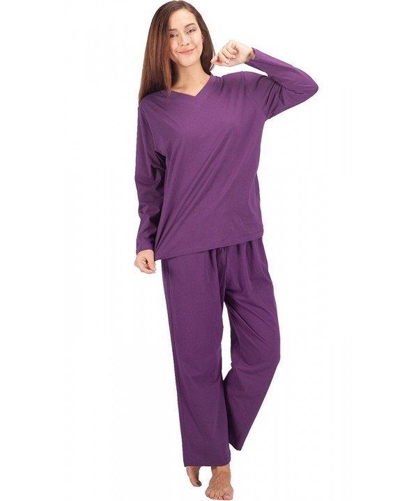625af114df1e Womens Pajama Sets Cotton Sleepwear Long Sleeve PJ Set - Purple ...