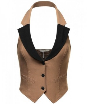 Womens Stretchy Cropped Halter LATTE