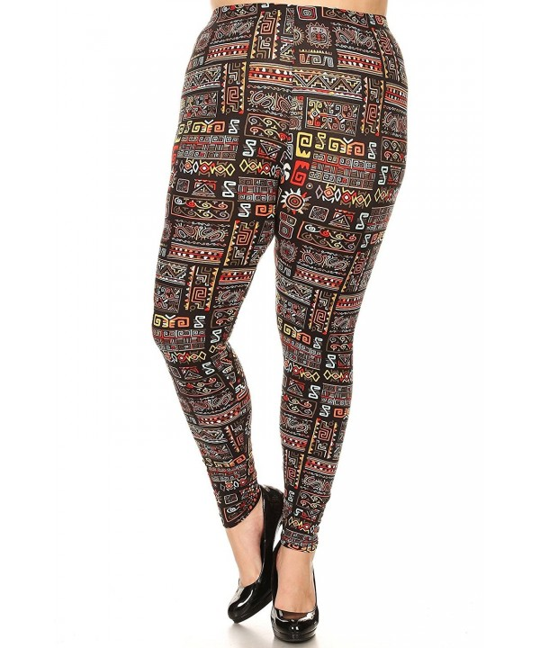 Womens Plus Tribal Printed Legging