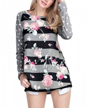 MEROKETTY Womens Sleeve Striped Floral