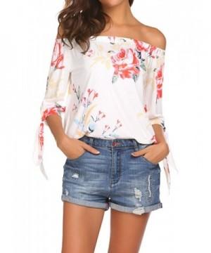 Qearal Shoulder Blouses Sleeve Floral