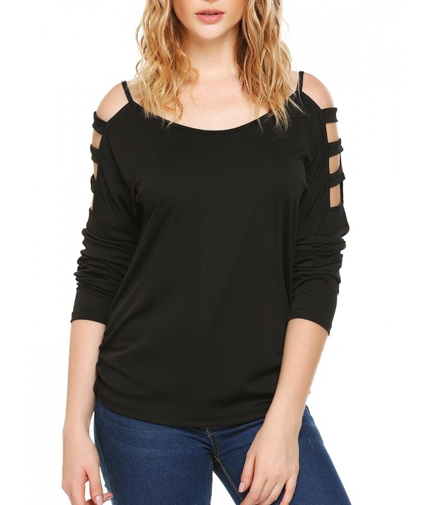 Cut Out Shoulder V Neck Sleeve Shirts