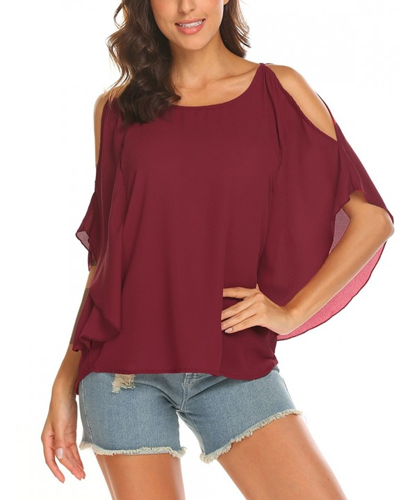 Womens Shoulder Chiffon T Shirt Batwing