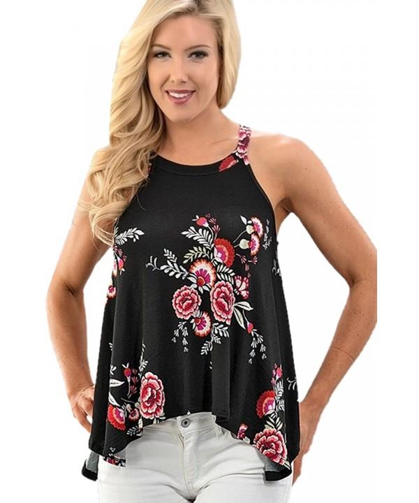 FELACIA Womens Floral Sleeveless T shirt