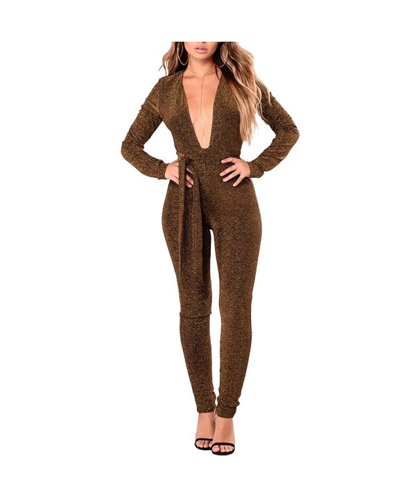 Metup V Neck Bodycon Jumpsuits Clubwear