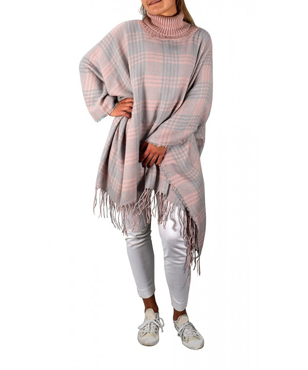 Peach Couture Checkered Sweater Pullovers