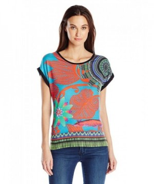 Desigual Womens Knitted T Shirt Turquoise