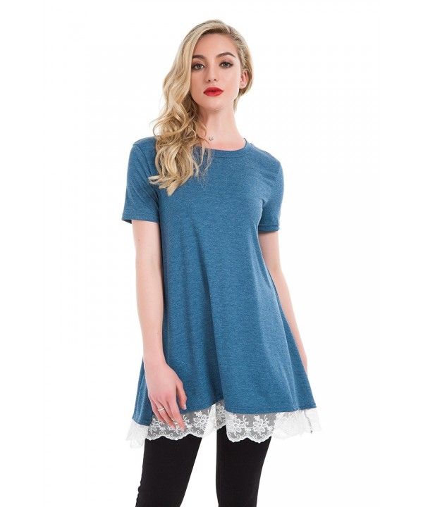 Lace Sleeve Blouse Leggings Sleeves Blue