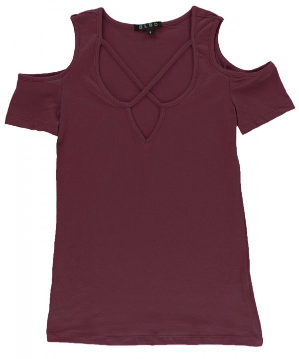 BLBD Womens Sleeve Shoulder Burgundy