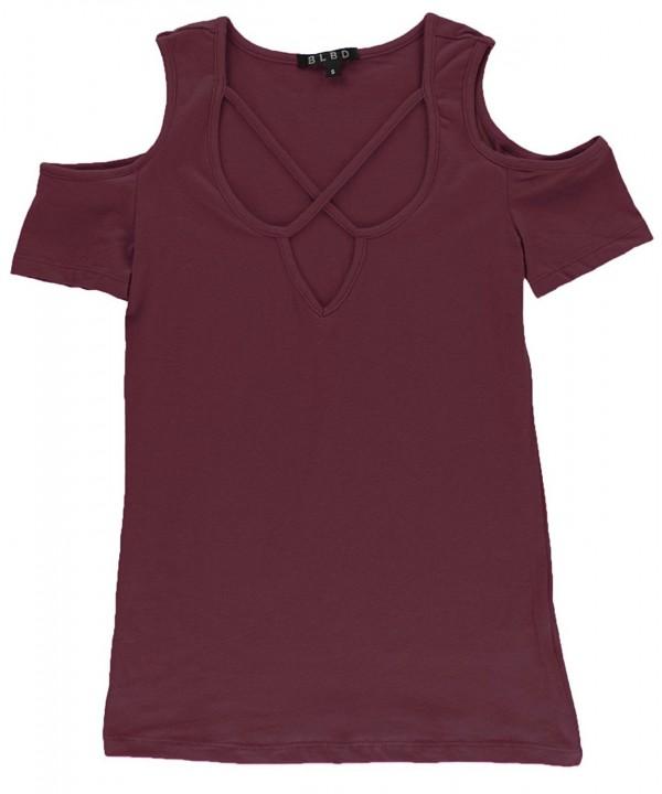 BLBD Womens Sleeve Shoulder Burgundy